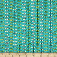 QT Fabrics House On The Hill Leaf Stripe Turquoise