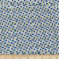 QT Fabrics House On The Hill Colored Grid Blue