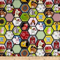 QT Fabrics Patchwork Farms Animal Octagon Patches Black