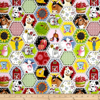 QT Fabrics Patchwork Farms Animal Octagon Patches White