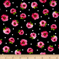 Quilting Treasures Brooke Small Tossed Floral Black
