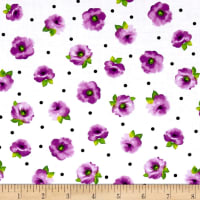 Quilting Treasures Brooke Small Tossed Floral White/Lilac