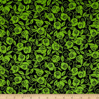 QT Fabrics Brooke Floral Scroll Black/Lime