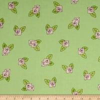 QT Fabrics Hatters Tea Party Pink Rose Toss Light Green