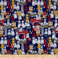 Quilting Treasures 5 Alarm Dalmations & Equipment Navy