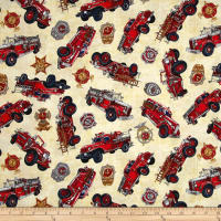 Quilting Treasures 5 Alarm Firetrucks & Shields Cream
