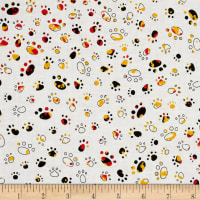 Party Animals Paw Prints White/Red