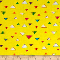 QT Fabrics Party Animals Triangles Yellow