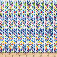 QT Fabrics Party Animals Broken Chevron Stripe White