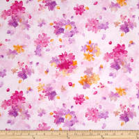 Quilting Treasures Soiree Spaced Watercolor Floral Pale Pink