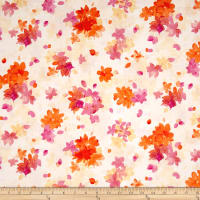QT Fabrics Soiree Spaced Watercolor Floral Pale Yellow