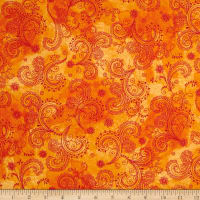 QT Fabrics Soiree Paisley Orange