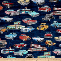Quilting Treasures Motorin' Vintage Cars Navy