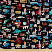 Quilting Treasures Motorin' Roadside Attractions Black