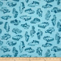 Quilting Treasures Motorin' Vintage Car Sketches Lt. Aqua