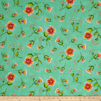 Quilting Treasures Love Grows Here Flower Toss Green