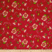 Quilting Treasures Love Grows Here Flower Toss Red
