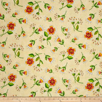 QT Fabrics Love Grows Here Flower Toss Lt. Honey