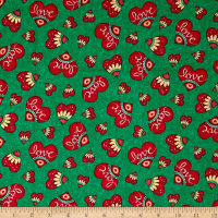Quilting Treasures Love Grows Here Love Hearts Dk. Green