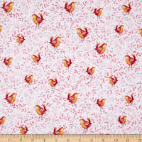Quilting Treasures Love Grows Here Birds Lt. Red