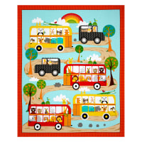 "QT Fabrics On The Road Sightseeing Animals 36"" Panel Multi"
