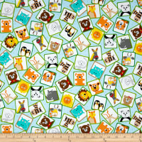QT Fabrics On The Road Animal Patches Baby Blue