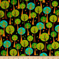 QT Fabrics On The Road Trees Black