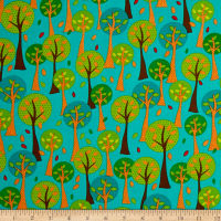 QT Fabrics On The Road Trees Teal