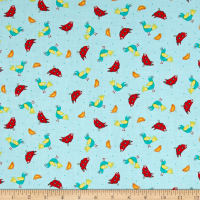 QT Fabrics On The Road Birds Lt Blue