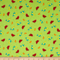 QT Fabrics On The Road Birds Lt Green