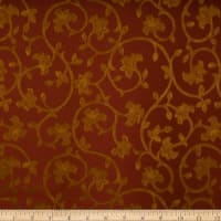 Fabricut Baroque Scroll Silk Sangria