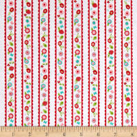 Riley Blake Butterflies & Berries Stripe Butterflies White