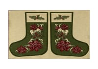 "Holiday Joy Jacquard Easy Sew Stocking Panel Poinsettia 27"" X 18.8"""