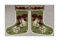 "Holiday Joy Jacquard Easy Sew Stocking Template Panel Bells 27"" X 18.61"""