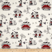 Disney Mickey & Minnie Vintage Scenes Of Romance Multi Fabric