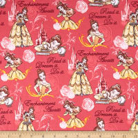 Disney Beauty & The Beast Belle Enchantment Awaits Jersey Knit Pink