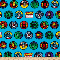 Marvel Comic Retro Badge Jersey Knit Blue