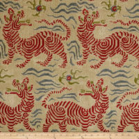 Clarence House Tibet Small Scale Linen Velvet Red