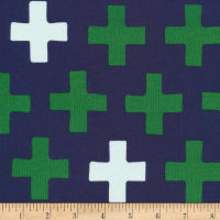 Cloud9 Fabrics Organic Interlock Knit Cross Navy