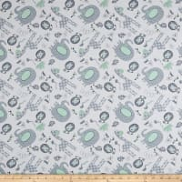 Playful Cuties Flannel Jungle Animals Gray