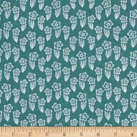 Whimsy Woodland Flowers Outline Dark Turq