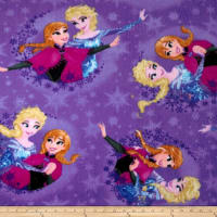 Disney Frozen Fleece Sisters Ice Skating Snowflake Badge Purple (Bolt, 10 Yard)