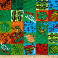 10 Yard Bolt Nickelodeon TMNT Fleece NINJA Patch Green
