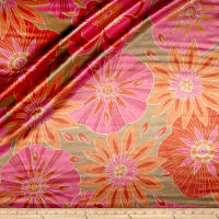 Designer Large Retro Floral Shantung Sateen Magenta/Orange/Olive