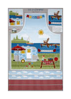 "Wilmington Let's Go Glamping Apron 29"" Panel Multi"