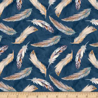 Wilmington Nature Study Feathers Allover Navy