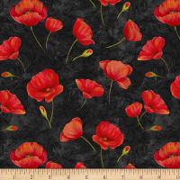 Wilmington Scarlet Dance Poppies Allover Black