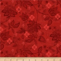 Wilmington Scarlet Dance Floral Texture Red