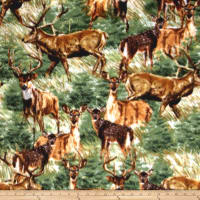Fleece Deer Field Green
