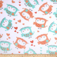 Fleece Owls & Hearts White